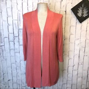 Peach short sleeves open knit cardigan. Chico's